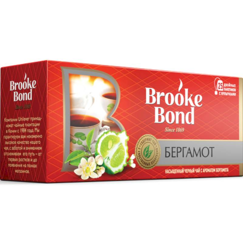 """Brooke Bond"" Чай черный ""Бергамот"", 25 пакетиков по 1,5 г (37,5 г)"