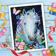 """:  - Вышивка бисером """"Белая лошадь"""", 25x35 см"""